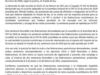 SEGUNDA DEMANDA GANADA A LA FEP POR ALGUNA FEDERACIONES AUTONÓMICAS