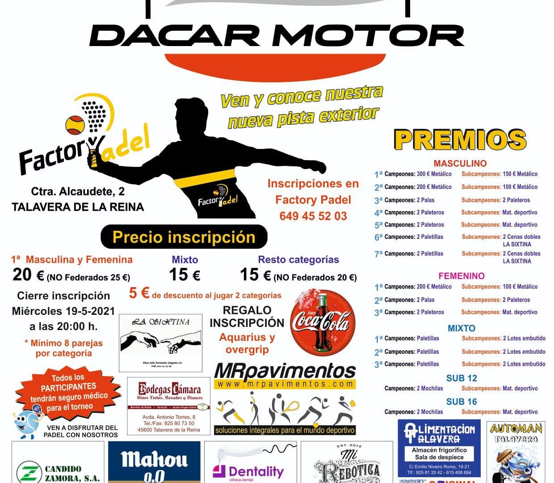 TORNEO FEDERADO FACTORY PADEL DACAR MOTOR